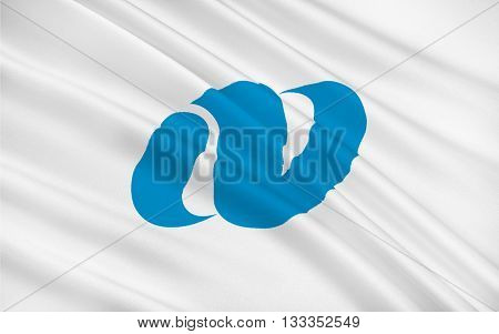 Flag of Nagasaki Prefecture is a prefecture of Japan located on the island of Kyushu. 3D rendering