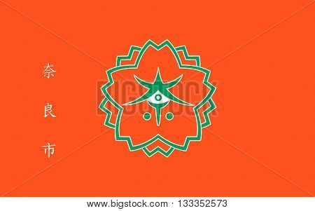 Flag of Nara is the capital city of Nara Prefecture located in the Kansai region of Japan. 3D rendering