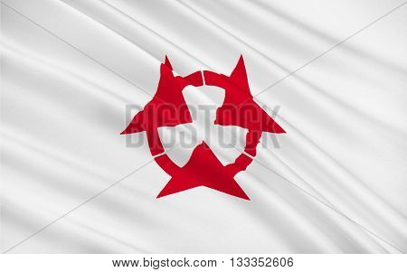 Flag of Oita Prefecture is a prefecture of Japan on Kyushu Island. 3D rendering