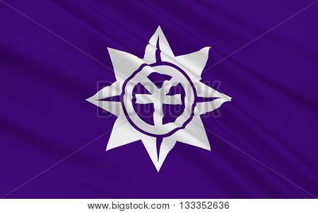 Flag of Okayama is the capital city of Okayama Prefecture in the Chugoku region of Japan. 3D rendering