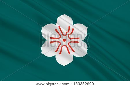 Flag of Saga Prefecture is a prefecture in the northwest part of the island of Kyushu Japan. 3D rendering