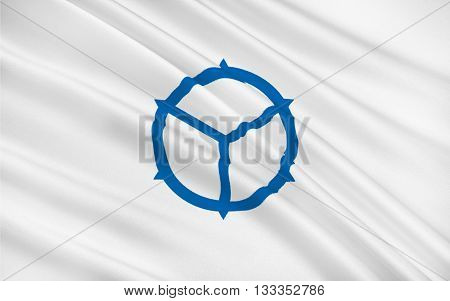 Flag of Matsue is the capital city of Shimane Prefecture located in Chugoku region of the main island of Honshu. 3D rendering