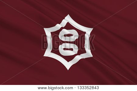 Flag of Utsunomiya is the capital and most populous city of Tochigi Prefecture in the northern Kanto region of Japan 3D rendering