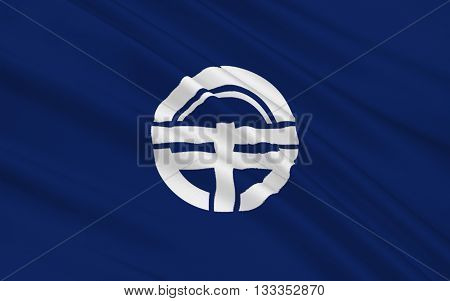 Flag of Tokushima is the capital city of Tokushima Prefecture on Shikoku island in Japan. 3D rendering