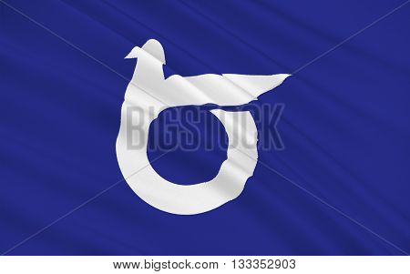 Flag of Tottori Prefecture is a prefecture of Japan located in the Chugoku region. 3D rendering