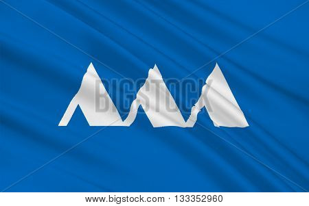 Flag of Yamagata Prefecture is a prefecture of Japan located in the Tohoku region on Honshu island 3D rendering