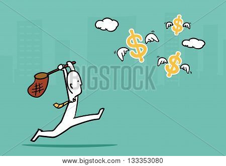 Biz Man Concept : Business Man Running To Catch Flying Dollar Sign