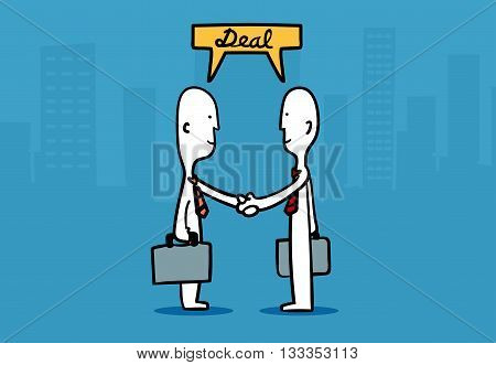 Biz Man Concept : Two Business Mans Shaking Hands Deal A Business At City Building Background