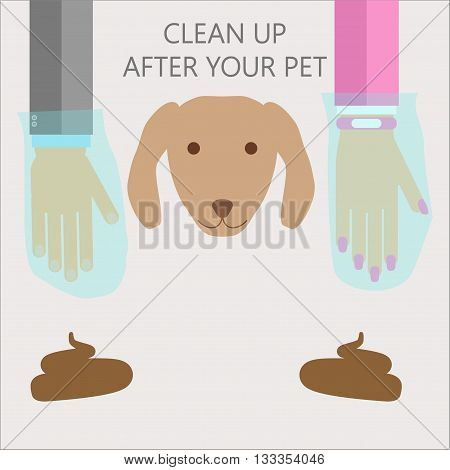 Clean up after your pet illustration. Vector flat style warning for dog owners with hands in plastic bags