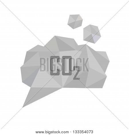 CO2 carbon dioxide gas vector illustration. Low poly polygonal style concept for air pollution gas emission global warming ecological problems. Gray smoke cloud