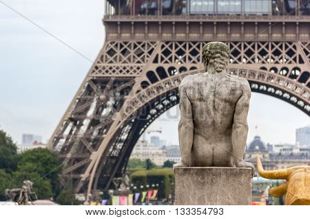 Eiffel Tower and Sculptures in Trocadero in Paris France.