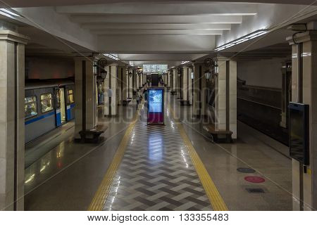 Kazan Russia - June 11 2015: Kazan's subway station Kremlevskaya