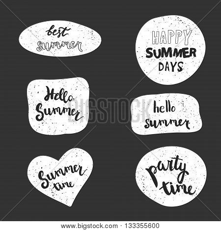 Summer stickers vector set. Handwritten party time, hello summer, summer time, best summer, happy summer days.