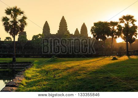 Sunrise at Angor wat in Combodia, which is a world heritage