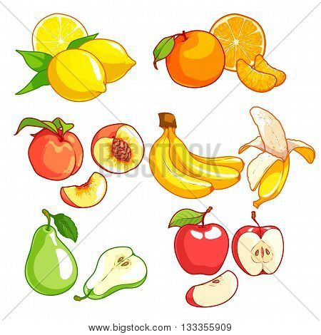 Set of cartoon fruits. Vector icons set on a white background. Lemon orange peach banana green pear and red apple.