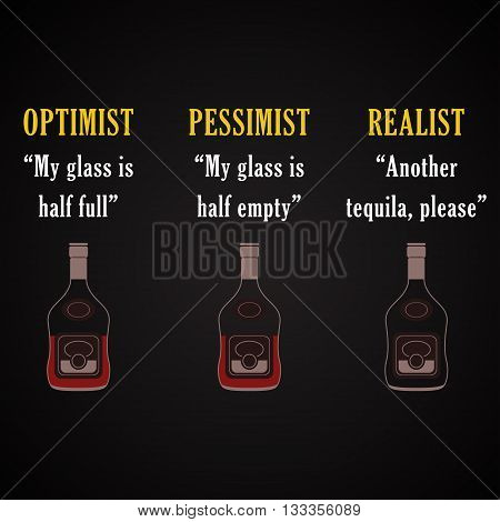 Optimist, pessimist, realist, funny inscription template background