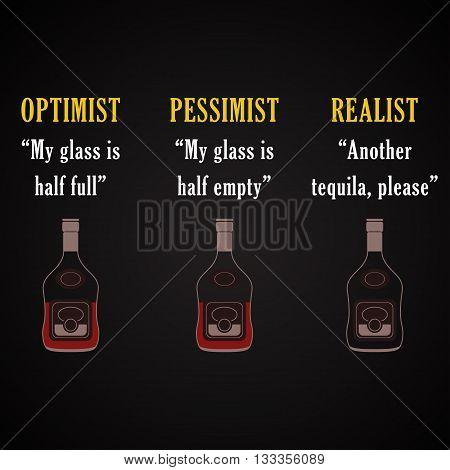 Optimist, pessimist, realist, funny inscription template background