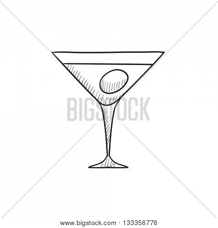 Cocktail glass vector sketch icon isolated on background. Hand drawn Cocktail glass icon. Cocktail glass sketch icon for infographic, website or app.