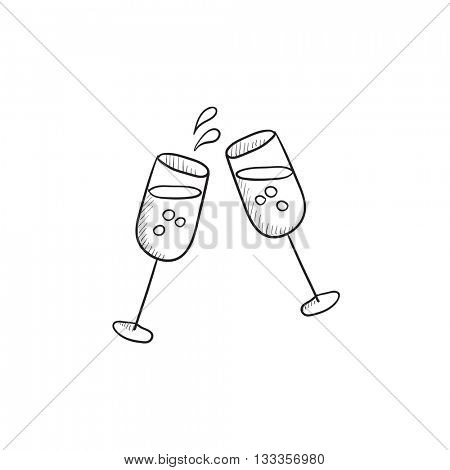 Two glasses of champaign vector sketch icon isolated on background. Hand drawn Two glasses of champaign icon. Two glasses of champaign sketch icon for infographic, website or app.