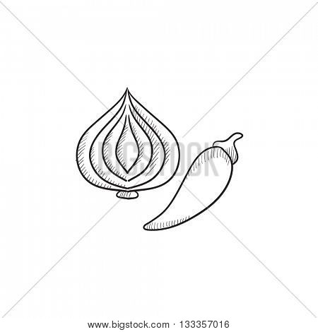 Garlic and chilli vector sketch icon isolated on background. Hand drawn Garlic and chilli icon. Garlic and chilli sketch icon for infographic, website or app.