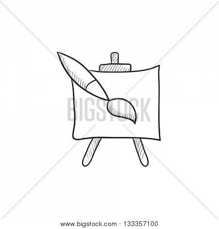 Easel and paint brush vector sketch icon isolated on background. Hand drawn Easel and paint brush icon. Easel and paint brush sketch icon for infographic, website or app.