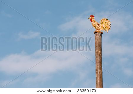 Festive Wooden Pole On Which People Climb Maslenitsa. Slavic Celebration Shrovetide Is Traditional Holiday Dedicated To Approach Of Spring In Russia, Belarus, Ukraine And Others Slavic Countries.