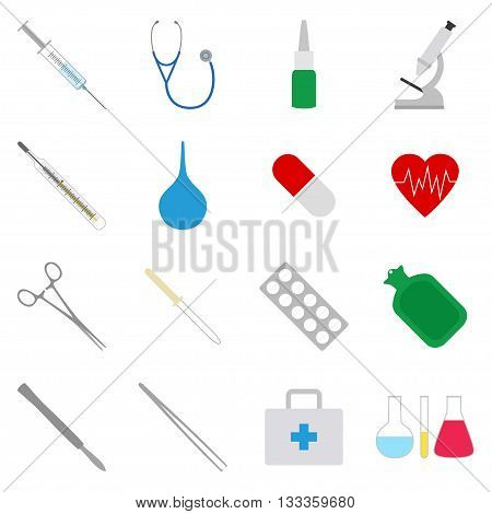 Set of medical icons on white bacground, vector illustration