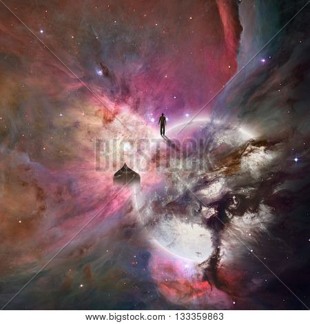 Deep space background with human being 3D Render Elements of this image furnished by NASA