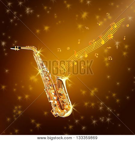 Golden saxophone and flowing notes against brown background