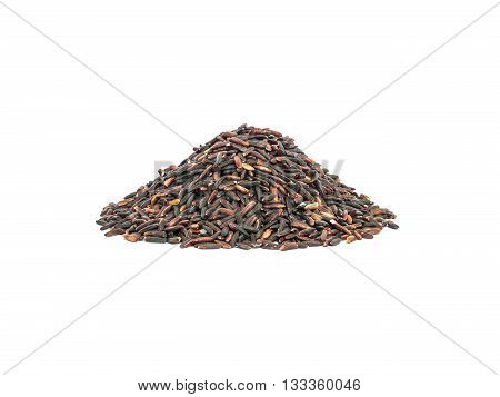 Closeup pile of black rice called riceberry rice rice with high nutrients isolated on white background