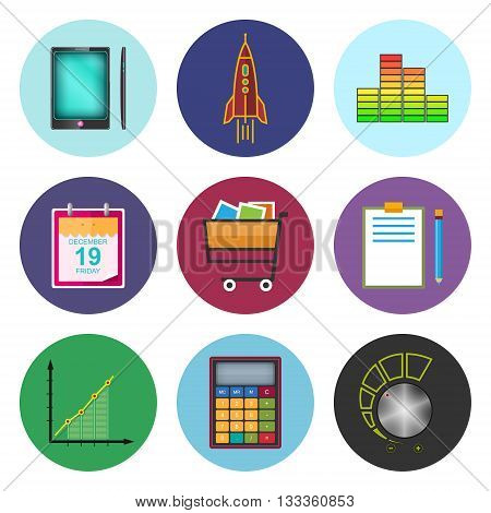 Set of Business Icons, Phone and Office Items, Icon of Business Success, Graph Growth, Shopping Basket, Vector Illustration