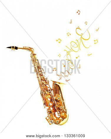 Golden saxophone and notes coming out isolated on white