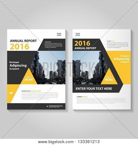 Yellow Black Vector annual report Leaflet Brochure Flyer template design, book cover layout design, Abstract blue presentation templates