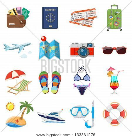 Vacation and Tourism Flat Icons Set for Mobile Applications, Web Site, Advertising like Boat, Cocktail, Island, Aircraft and Suitcase.