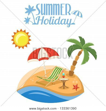 Summer Vacation on Beach Concept for Mobile Applications, Web Site, Advertising like Island, Palm Tree, Cocktail, Recliner and Starfish Flat Icons.