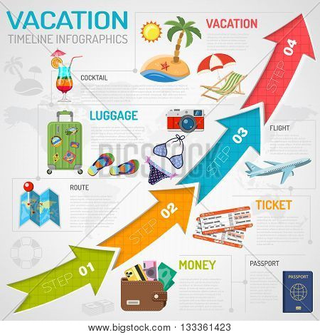 Vacation, Holiday, Tourism Timeline Infographics for Mobile Applications, Web Site, Advertising with Beach, Cocktail, Ticket Flat Icons and Arrows.