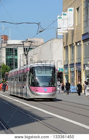 BIRMINGHAM, UK - JUNE 6, 2016 - Midland Metro city centre extension Tram along Corporation Street Birmingham England UK Western Europe, June 16, 2016.