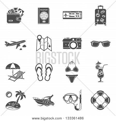 Vacation and Tourism Icons Set for Mobile Applications, Web Site, Advertising like Boat, Cocktail, Island, Aircraft and Suitcase.