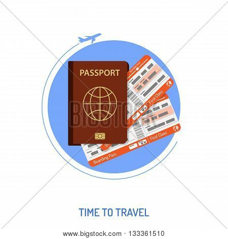 Vacation and Tourism Concept with Flat Icons for Mobile Applications, Web Site, Advertising like Aircraft, Passport and Tickets.