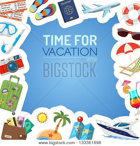 Vacation and Tourism Frame with Flat Icons for Mobile Applications, Web Site, Advertising like Boat, Cocktail, Island, Aircraft and Suitcase.