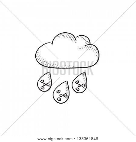Radioactive cloud and rain vector sketch icon isolated on background. Hand drawn Radioactive cloud and rain icon. Radioactive cloud and rain sketch icon for infographic, website or app.