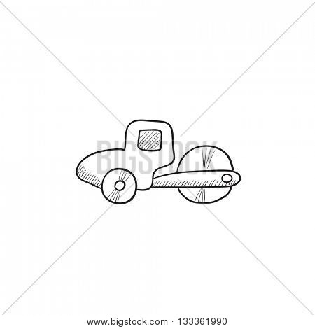 Road roller vector sketch icon isolated on background. Hand drawn Road roller icon. Road roller sketch icon for infographic, website or app.