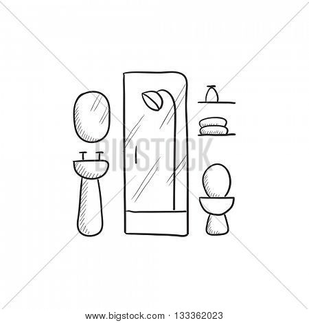 Bathroom vector sketch icon isolated on background. Hand drawn Bathroom icon. Bathroom sketch icon for infographic, website or app.