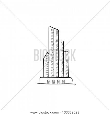Skyscraper office building vector sketch icon isolated on background. Hand drawn Skyscraper office building icon. Skyscraper office building sketch icon for infographic, website or app.