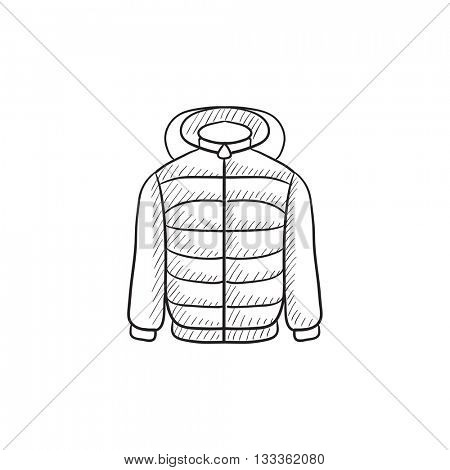 Jacket vector sketch icon isolated on background. Hand drawn Jacket icon. Jacket sketch icon for infographic, website or app.