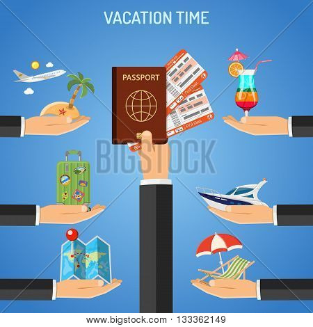 Vacation and Tourism Frame with Flat Icons for Mobile Applications, Web Site, Advertising like Boat, Cocktail, Island, Aircraft and Hand with Passport and Tickets.
