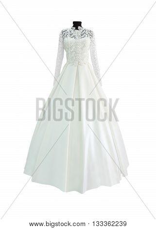 White wedding or evening dress isolated on white background