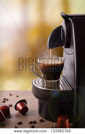 Espresso Machine Making Coffee On Wood Table Vertical Composition