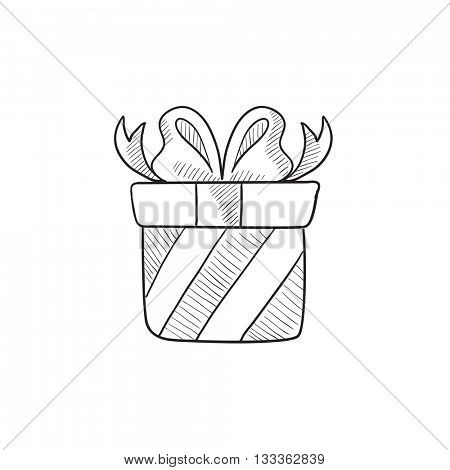Gift box vector sketch icon isolated on background. Hand drawn Gift box icon. Gift box sketch icon for infographic, website or app.