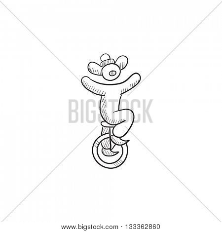 Clown riding on one wheel bicycle vector sketch icon isolated on background. Hand drawn Clown riding on bicycle icon. Clown riding on one wheel bicycle sketch icon for infographic, website or app.